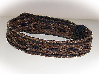 Braided Horse Hair Bracelet One Size Fits All Earth Tones WIDE front