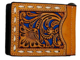 Money Clip Bi-Fold Card Holder Cut Out Tan Turquoise Lace Nocona Wallet back