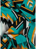 Southwest #1 Teal/Gold 100% Silk Wild Rags ruffle