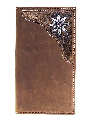 Nocona Mens Western Rodeo Wallet/Rowel/Cow Hair/11 Credit Card