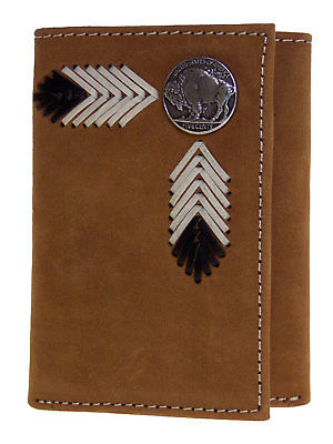 Buffalo Nickel Tri-fold Brown Leather Nocona Western Wallets front