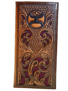 HOOey Mens Western Rodeo Wallet Diamond Leaf Design Cutout Brown Maroon front