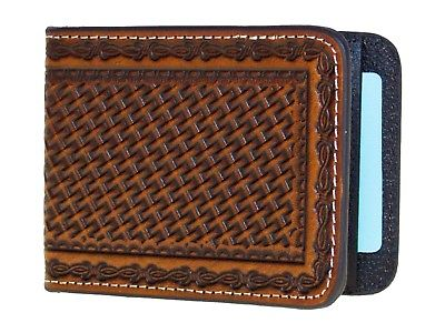 Nocona Mens Western Leather Money Clip Card Holder Basket Weave Brown