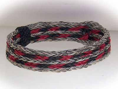 Braided Horse Hair Bracelet One Size Fits All Black/Red with Natural WIDE front