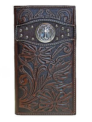 Ariat Rodeo Mens Wallet/11 Credit Card/Billfold/Tooled/Cowboy Cross /Brown front