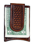 Nocona Mens Western Leather Money Clip Credit Card Holder/Tooled/Brown detail