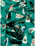 Wild Rags Turquoise Green with SW Painted Cow Skulls Western Buckaroo Silk Scarf ruffle