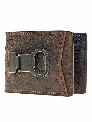 Nocona Bottle Opener Wallet bifold money clip ostrich look brown front