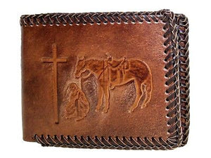 Praying Cowboy Laced Bi-Fold with Pass Case Brown Nocona Wallets