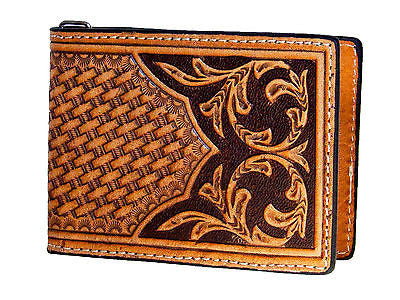 Nocona Mens Western Leather Money Clip/Credit Card Holder/Tooled/Brown