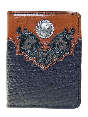 Nocona Mens Western Wallet/Bi-fold Flipcase/Boot Top Design/Black and Tan front