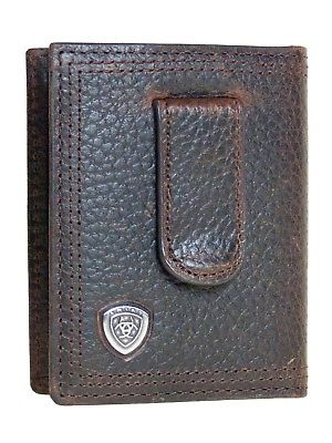 Ariat Leather Front Pocket Money Clip Mens Bifold Wallet/Dk Brown Rowdy