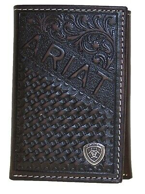 Ariat Mens Western Tri-Fold Wallet Diagonal Ariat Embossed Leather Brown front