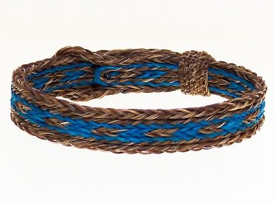 Horse Hair Bracelet One Size Fits All  Brown/Turquoise  WIDE front