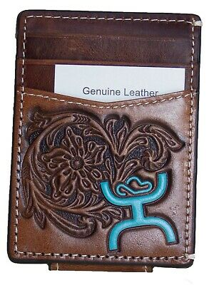 HOOey Mens Western Money Clip Credit Card Wallet Turquoise SIGNATURE Logo Brown front
