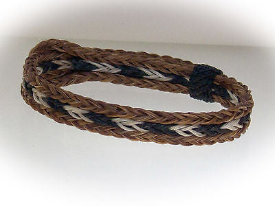 Braided Horse Hair Bracelet One Size Fits All White/Black with Brown Border