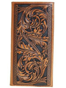 HOOey Mens Western Rodeo Wallet Embossed Leaf Cutout Southwest Border front