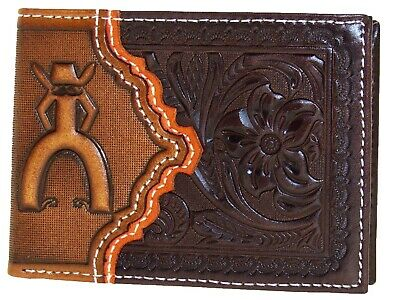 HOOey Mens Western Bi-fold Front Pocket Wallet PUNCHY Logo Brown Orange front