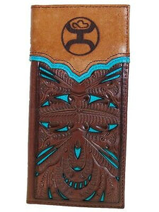 HOOey Mens Western Rodeo Wallet Two Toned Leather Cutout Turquoise front