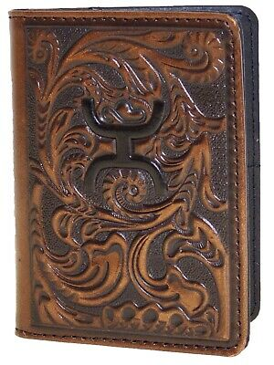 HOOey Mens Western Bi-Fold Money Clip Credit Card Wallet Dark Brown front
