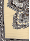 Satin Silk  #8 Tan Western Cowboy Silk Wildrag Bandana Buckaroo Scarf  print close up