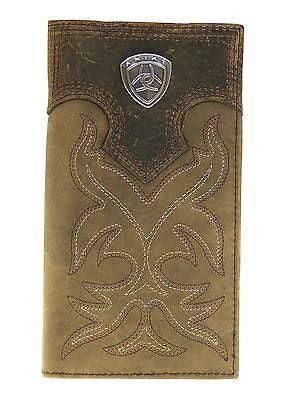 Ariat Mens Western Wallet/Rodeo/Medium Brown/Boot Stitched/Distressed