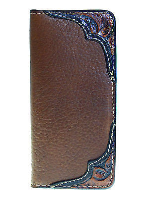Mens Western Rodeo Wallet/Brown/Bison/Tooled/USA made/ Coronado Leather front