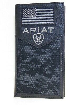Ariat Mens Western Rodeo Wallet Black Leather Digital Camo USA Flag front