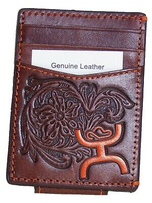 HOOey Mens Western Money Clip Credit Card Wallet Orange Logo Brown front