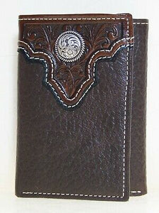 Ariat Mens Western Wallet Tri-fold Tooled Decorative Concho front
