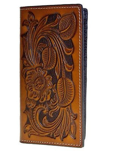 Tooled Heavy Leather Rodeo 11 Credit Card Brown Nocona Wallets