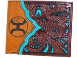 HOOey Mens Western Bi-Fold Wallet Two Toned Leather Cutout Turquoise front