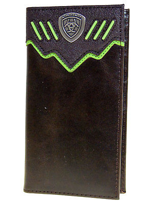 Ariat Mens Western Wallet/Rodeo Dk Brown Raised Green Stripe 11  CCard Front