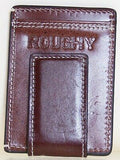HOOey Mens Western Money Clip Credit Card Wallet Turquoise ROUGHY Logo Brown back