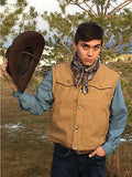 Mountain Vest/ Quilted Insulated Lined Canvas Western Vest/ Wyoming Traders/Tan detail 5