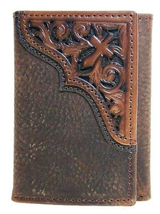Tri-fold Tooled Cross Brown Rowdy Ariat Western Wallets front