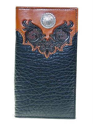 Nocona Mens Western Wallet/Rodeo/11 Credit Card/Boot Top Design/Black and Tan front