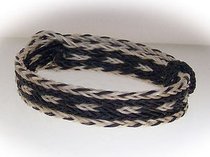 Braided Horse Hair Bracelet One Size Fits All Black/White WIDE front