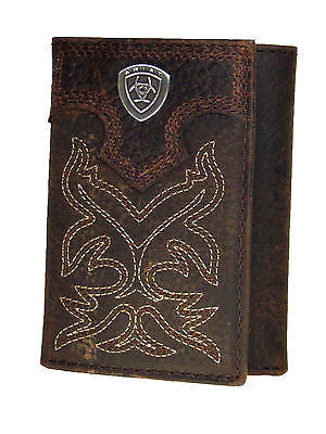Ariat Mens Western Wallet/Tri-fold/Brown/Boot Stitch front
