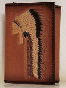 Ariat Mens Western Tri-Fold Wallet Chief Skull with Headdress 6 Card front