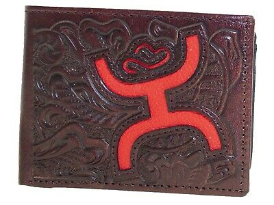HOOey Mens Western Bi-Fold Wallet Embossed Floral Cutout Logo Brown Red front