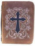 Western Leather Embrodered Cross Bible Cover Standard Size front