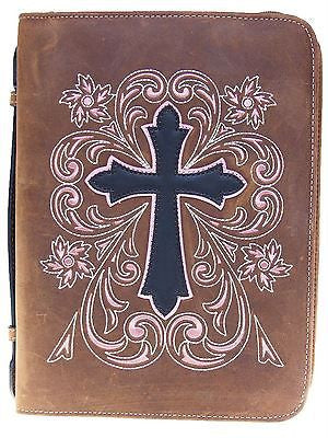 Western Leather Embrodered Cross Bible Cover Standard Size