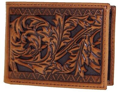 HOOey Mens Western Bi-Fold Front Pocket Wallet Leaf Cutout Southwest Border front