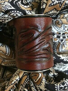 LARGE Scarf Slide for Thicker Wild Rags Leather Hand Tooled FL Dark