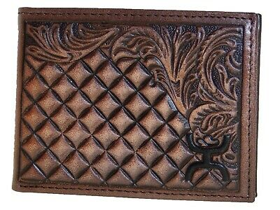 HOOey Mens Western Bi-Fold Front Pocket Wallet Leaf Diamond Brown front