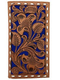 Nocona Mens Western Rodeo Wallet Embossed Floral Cut Out Saddle Tan Blue detail