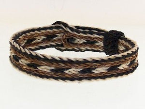 Horse Hair Bracelet One Size Fits All Brown White Black  WIDE front