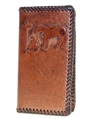 Praying Cowboy Laced 11 Card Leather Brown Nocona Rodeo Wallets