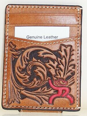 HOOey Mens Western Money Clip Credit Card Wallet Red ROUGHY Logo Tan front